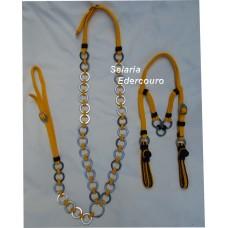 Conjunto Cabeçada e Peitoral Cordinha Argolas Inox SETC01