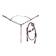 Conjunto Cabeçada e Peitoral em couro com aplique e charroas em couro crú SE1093
