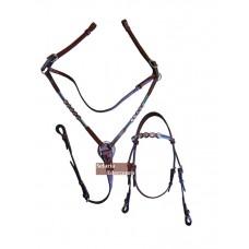Conjunto de Cabeçada e Peiteira em couro com apliques Mangalarga SE8110